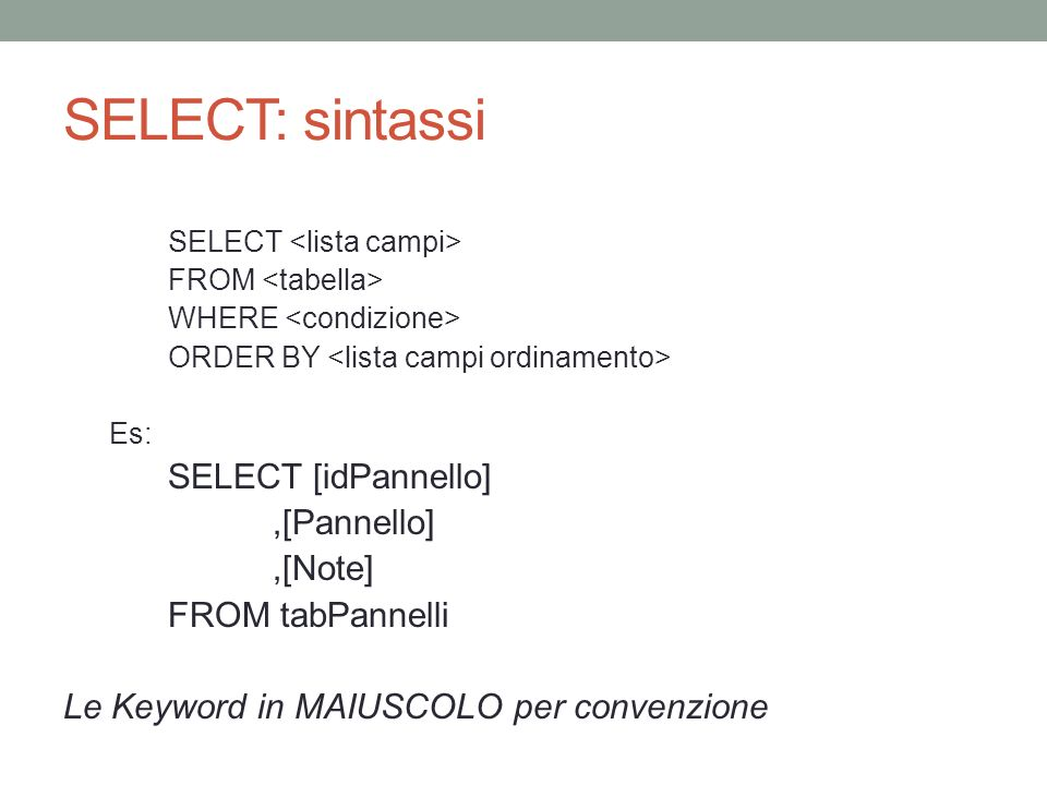 SELECT: sintassi SELECT [idPannello] ,[Pannello] ,[Note]